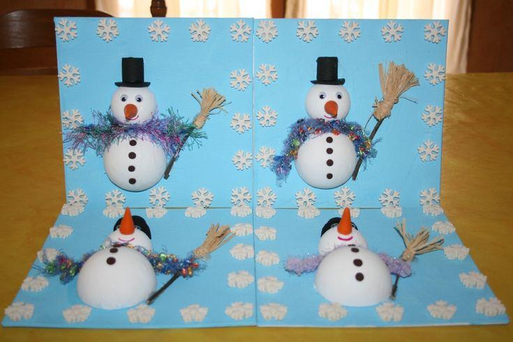 Bonhomme de neige en boules polystyrène