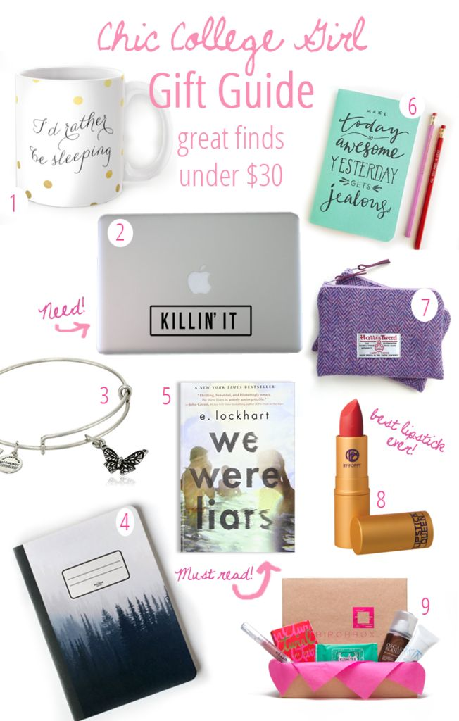Chic college girl gift guide! These cute gifts are perfect for the college girl in your life! Makeup, decals, books, and more for success!