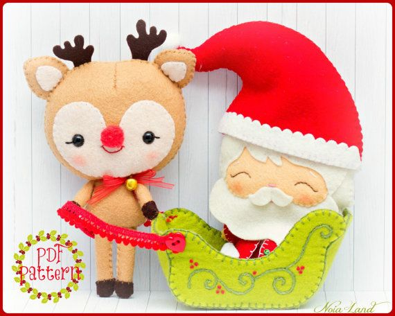 This PDF sewing pattern is to make a Santa Claus, Rudolph the reindeer and Santas sleigh pictured from felt fabrics. These dollsare hand sewn. Size: