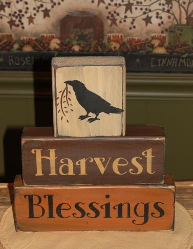 HANDMADE~ I have painted this Harvest Blessings primitive wood block set in nice fall colors. I have added a primitive crow on the top block. They have been painted with black underneath and been distressed for more of a primitive look. This will make a nice shelf sitter for your fall and Thanksgiving Décor.    Measure approx. 9 x 8 wide