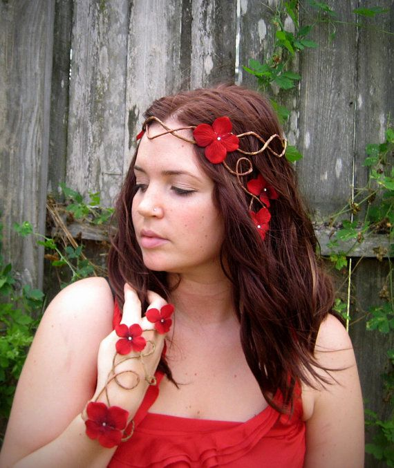Red Hair Wreath - Flower Crown - Fairy Headpiece
