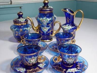 Italian Glass Tea Cups - Bing ImagesITALIAN COBALT BLUE MURANO GLASS TEA SET 24K GOLD FINISH HAND BLOWN