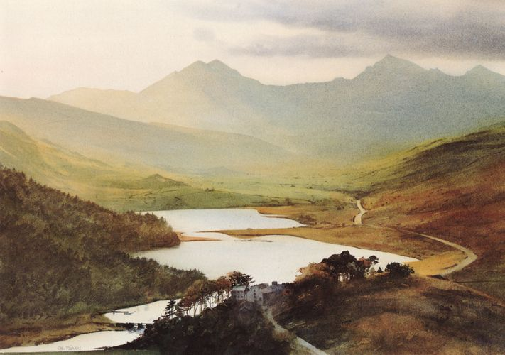 Snowdon from Capel Curig, greeting card from an original watercolour painting by Rob Piercy