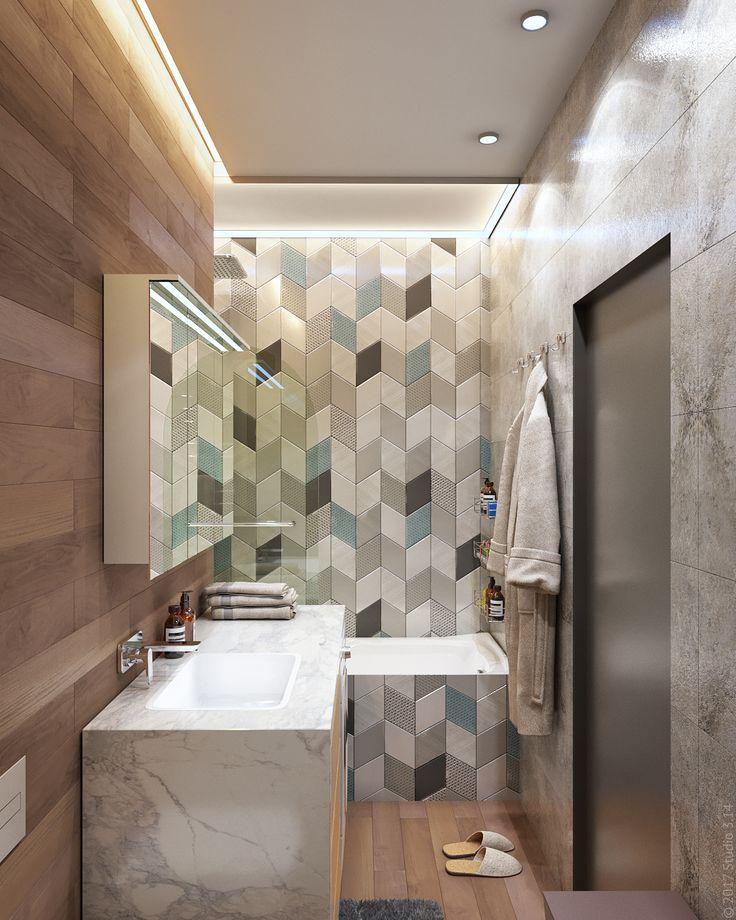 """Зона ванной чаши выделена иной облицовкой и """"утопленным"""" потолком с подсветкой."""