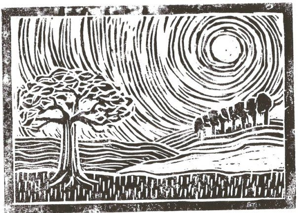 two linocuts without a printing press