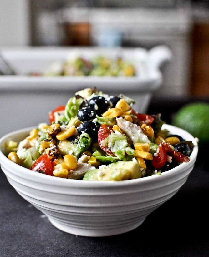 Summertime Grilled Corn, Chicken + Blueberry Chopped Salad with Honey ...