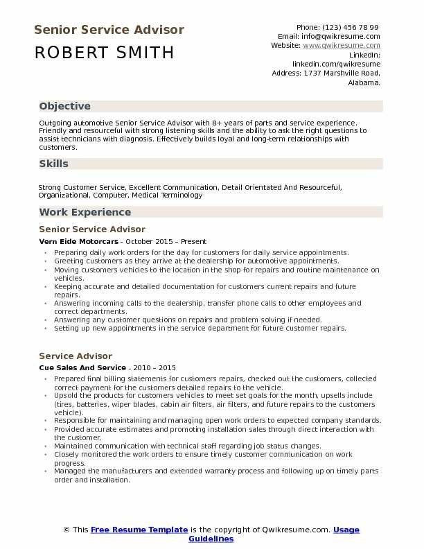 Service Advisor Resume Samples Qwikresume Service Advisor Resume Examples Resume Objective