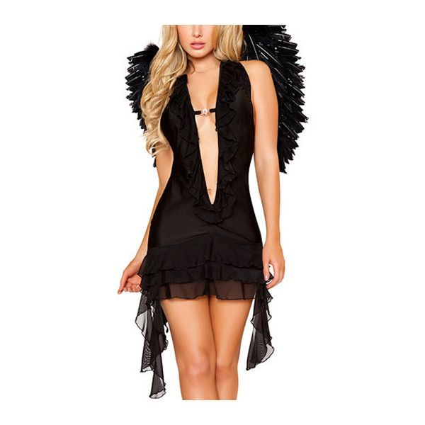 Sexy Wing Decorated Open Back Angle Costume Black (90 BRL) ❤ liked on Polyvore featuring costumes, black, sexy cosplay costumes, angel halloween costume, role play costumes, angel wing costume and sexy angel costume