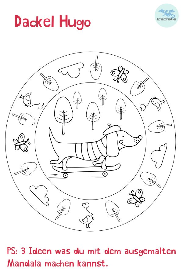 ausmalbild hund  dackel hugo  icedrake blog