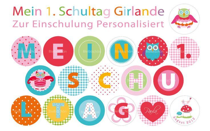 """Schulanfang """"Girlande für's Einschulungsfest"""" von  B L E I B T S C H Ö N auf DaWanda.com"""