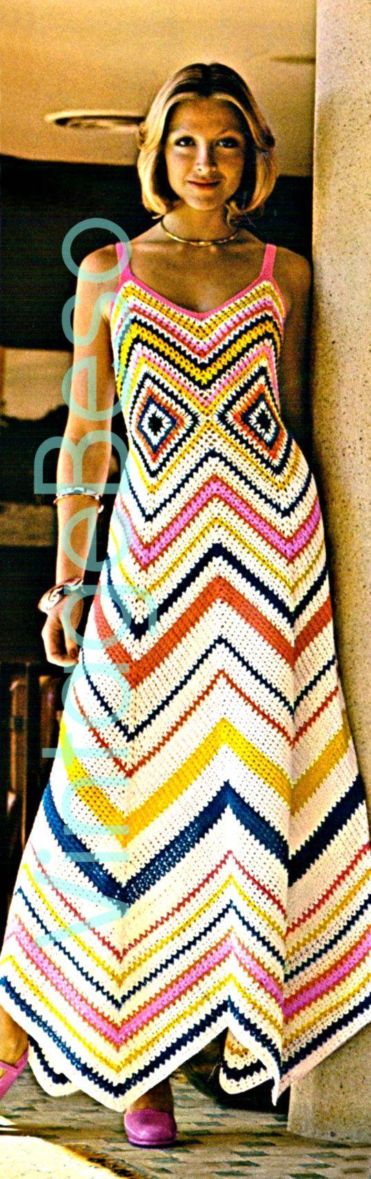 CHEVRON Crochet MAXI DRESS Instant Download pdf 1970s Vintage Crochet Pattern Clubbing Party Zig zag Boho Dress Resort Vacation Vintage Beso