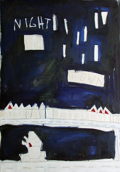 Night in town Oil on canvas 100 x 70 cm