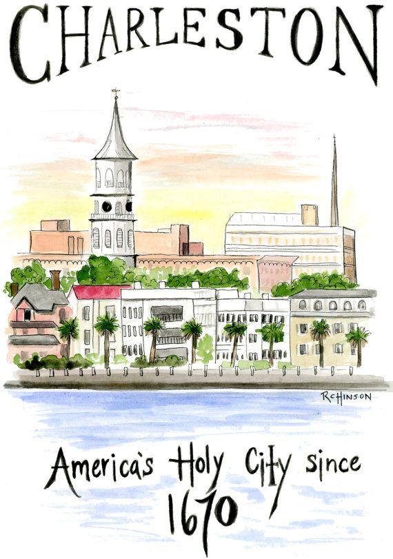 Charleston Watercolor Illustration Print