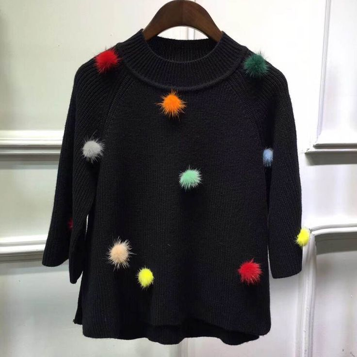 Womens Sweaters 2017 Autumn Winter Fashion Pompon Black Sweater And Pullovers 2017
