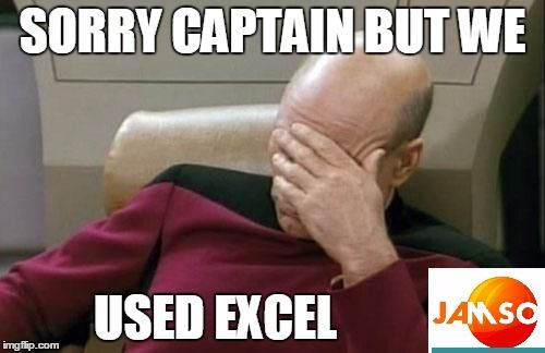 "Captain Picard Facepalm ""sorry captain but we used excel"" #excel #businessintelligence meme http://www.jamsovaluesmarter.com"