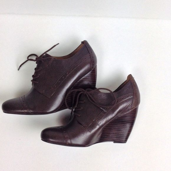 Brown Oxford Wedges Nice oxford lace up wedges in a fudge brown. 4-inch wedge. Brand new. NWOT. ❌NO TRADES❌ Nine West Shoes Wedges