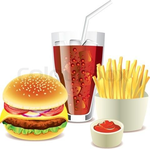 Vector of 'hamburger, cola and french fries photo realistic vector' on Colourbox
