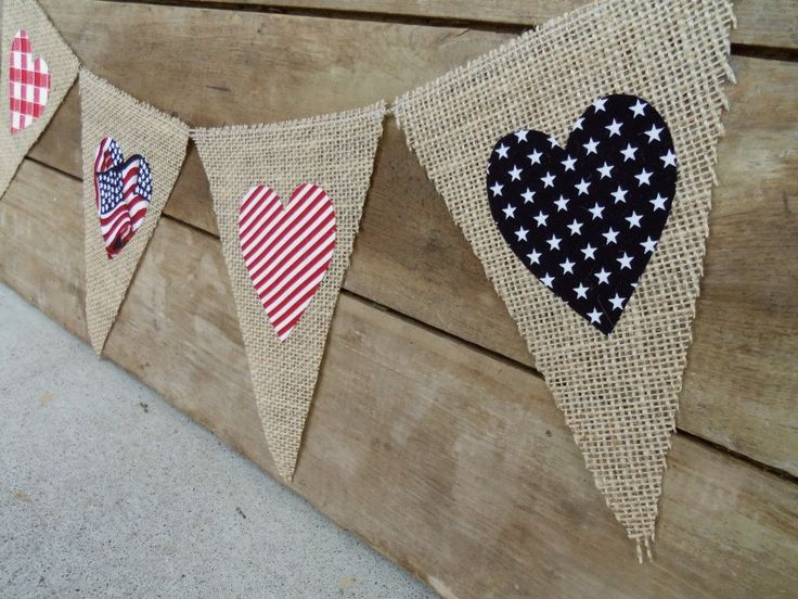 4th of July Patriotic Burlap Banner Bunting / Memorial Day Decorations / Photography Prop. $22.50, via Etsy.