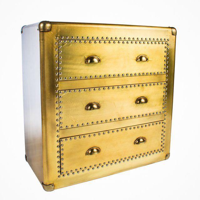 "Materials : Wood, metalMeasurements: 32""h x 16.5"" w x 32"" d, 65 poundsGold accent cabinet/dresser with 3 drawers"