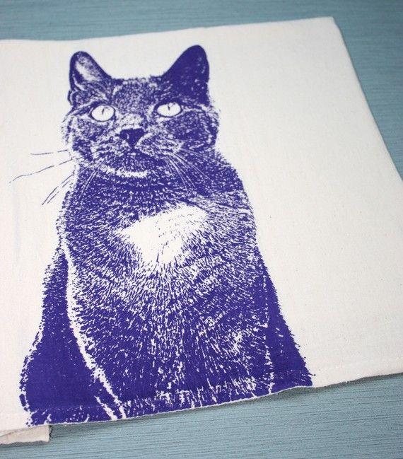 Kitty en violet chat torchon main farine imprimé sac