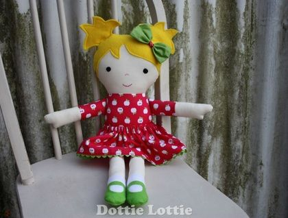 Fabric Doll with blonde hair and apple dress