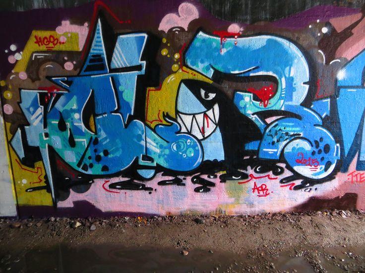 Shark attack. Helsinki graffiti