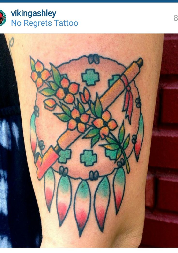 Osage shield oklahoma tattoo with poppies