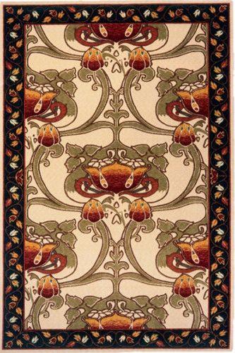 8x10 William Morris Arts Crafts Mission Style Ivory Wool Area Rug | eBay