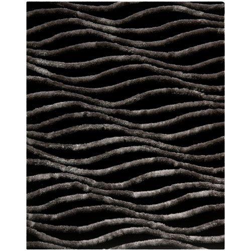 Shag Black and Grey Rectangular: 8 Ft. x 10 Ft. Rug - (In Rectangular)