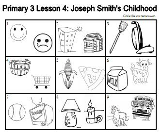 CTR 5: Primary 3, Lesson 4: Joseph Smith's childhood - Worksheet