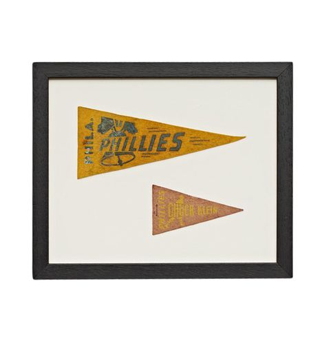 Framed Collection of Petite Phillies Baseball Pennants