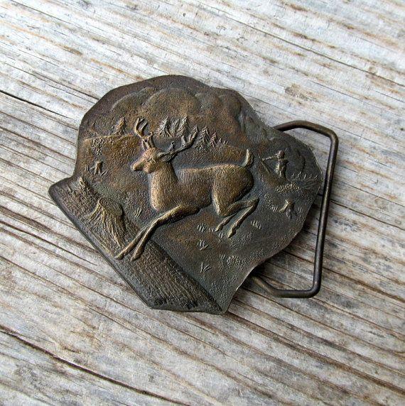Early Bergamot Brass Belt Buckle Stag Buck by GrapenutGlitzJewelry $35.00