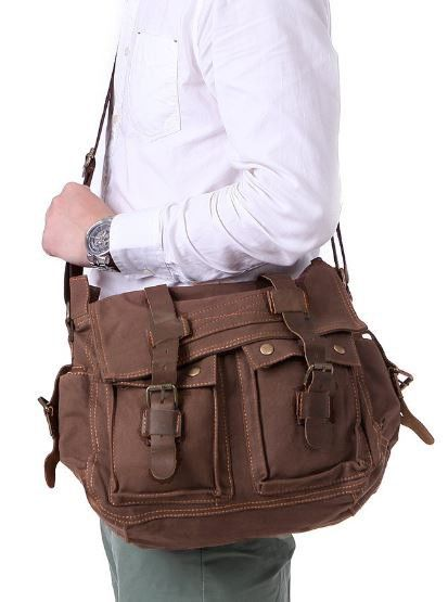 Canvas Leather Old School Messenger Bag Coffee #serbags #canvasleatherbags