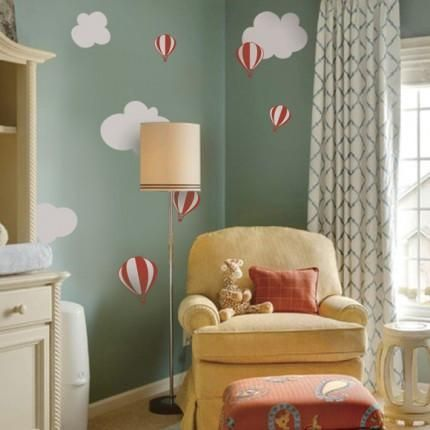 """Cute hot air balloon decals that children love! Perfect for your nursery or playroom. Size: Largest Hot air balloon Size: (approx): 6"""" wide Largest Cloud Size: (approx): 11.5"""" wide What's Included: Se"""