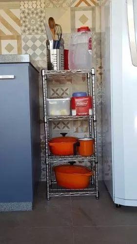 estante de aço cromado 3 prateleiras aramado c/rodizio 1002
