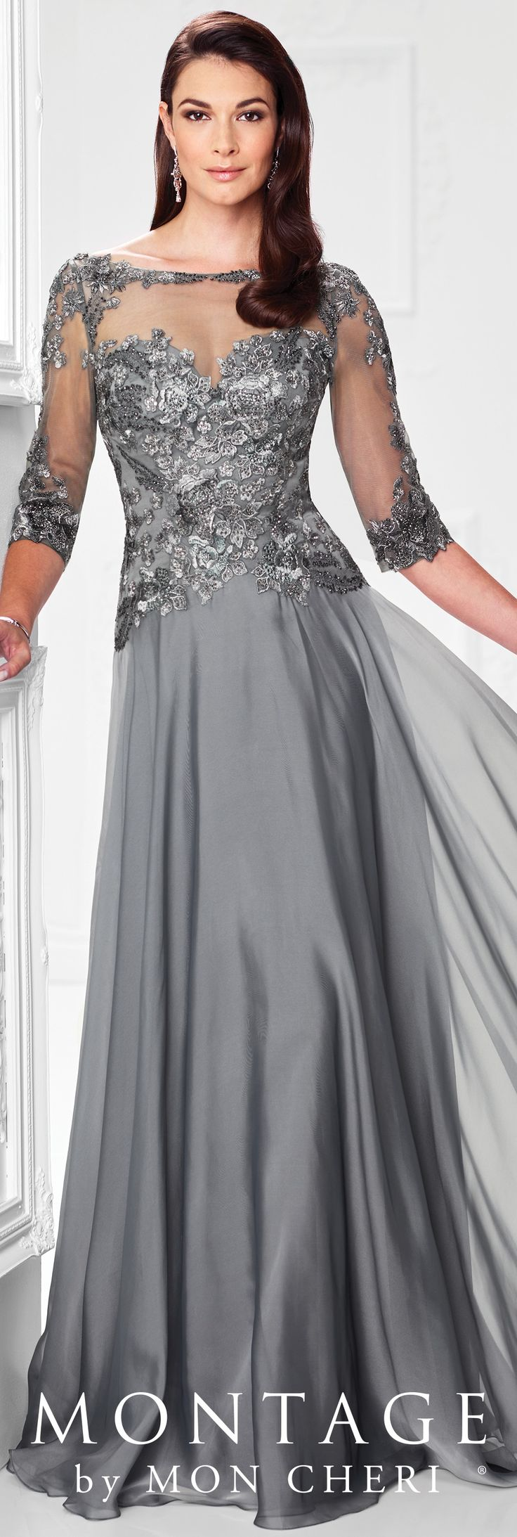 Formal Evening Gowns by Mon Cheri - Spring 2017 - Style No. 117901 - pewter chiffon evening dress with beaded floral lace bodice and illusion 3/4 length sleeves