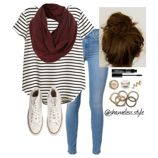 Black and White Striped Tee, Maroon Infinity Scarf, White Converse Sneakers, Gold Jewelry and for hair, a bun #TeenFashion