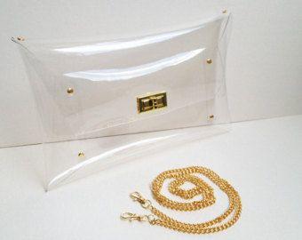 Classic Clutch Clear transparente con cadena de cadena de hombro, claro transparente del monedero, Clear, bolso, embrague, monedero (el tamaño grande): accesorio de oro