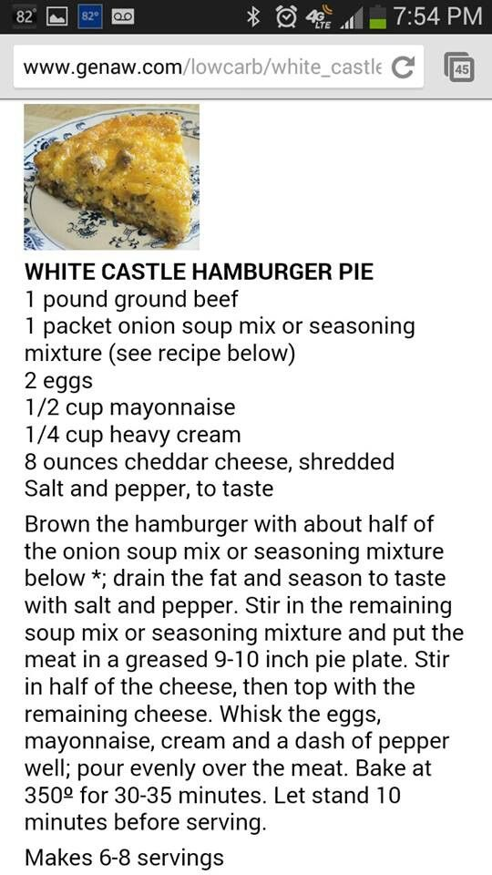 White Castle Hamburger Pie (would have to make sure the onion soup mix doesn't have any sugar or other weird stuff in it), but it sounds good! (hamburger pie recipes)