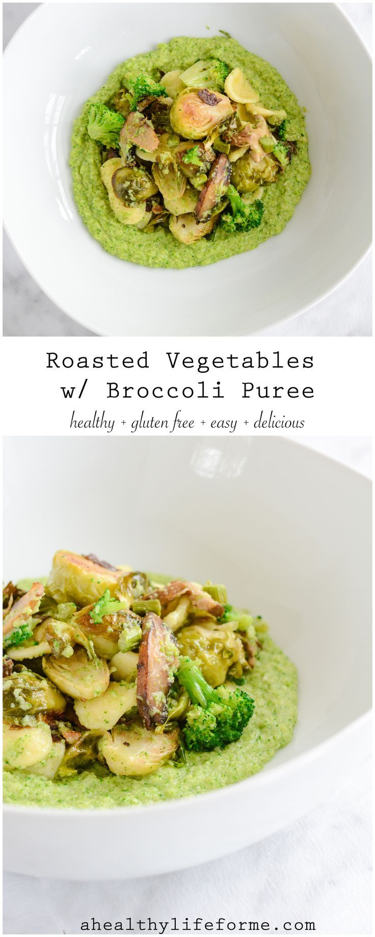 Roasted Vegetables with Broccoli Puree is a medley of roasted brussels sprouts, mushroom and asparagus that is blended with a creamy broccoli puree.  Gluten Free, Paleo Friendly, healthy, delicious and easy. - A Healthy Life For Me