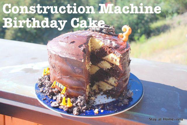 Construction Machine Birthday: Construction Tape Striped Cake Tutorial