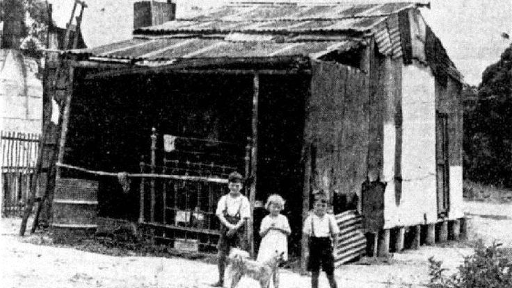 When did 'making it in Hollywood' mean you were on the wrong side of the city's tracks? HOME, SWEET HOME: Children outside their shanty in 'Hollywood', near Jesmond
