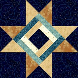 Star Over the Cabin. Pam Bono block design. Pattern no longer available.