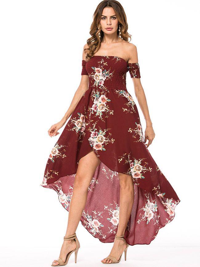 6169da8a16 Off Shoulder Floral Smocked Bodice Slit High-Low Chiffon Maxi #Dress  #fashion