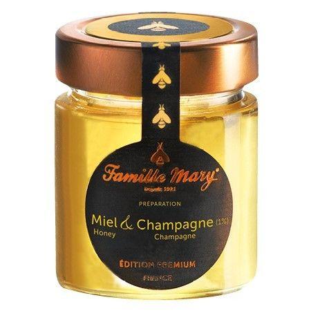 Miel & Champagne (1%). Découvrez une subtile préparation d'un miel d'acacia allié à un champagne grand cru. Idéal pour accompagner le foie gras !