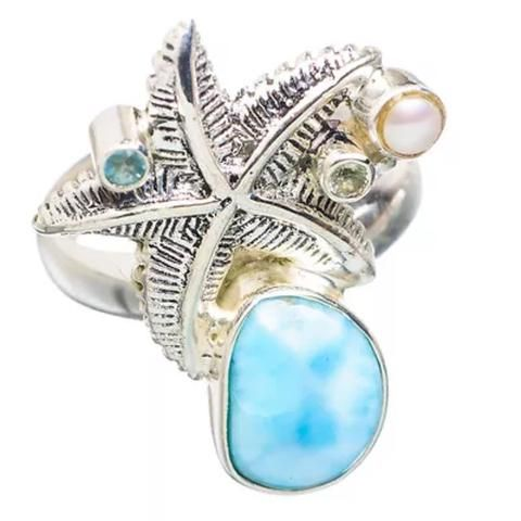 Larimar, Blue Topaz & Pearl Sterling Silver Starfish Ring – Keja Designs Jewelry