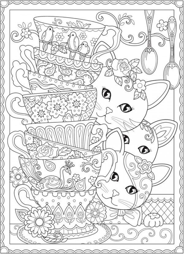 Download Cats And Tea Cups Coloring Page Kitten Coloring Book Cat Coloring Book Cat Coloring Page