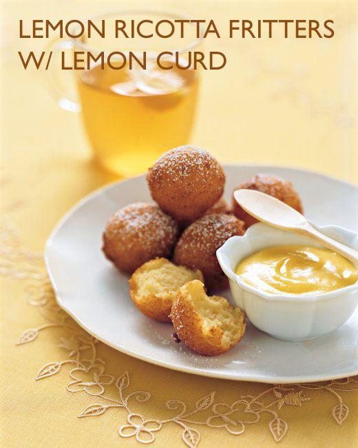 Lemon Ricotta Fritters with Lemon curd