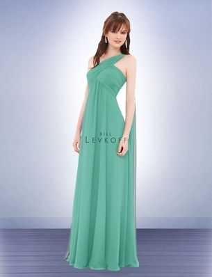 Style 675:  These glamorous bridesmaids dresses have a long chiffon back sash that drapes over the shoulder, falling to the floor (or floating in the breeze). The bridesmaids dresses have a ruched criss-cross bodice and a softly gathered skirt.