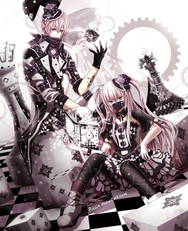 ✮ ANIME ART ✮ gothic. . .punk fashion. . .anime boy & girl. . .mini top hat. . .jacket. . .dress. . .boots. . .chessboard. . .chess pieces. . .dice. . .kawaii